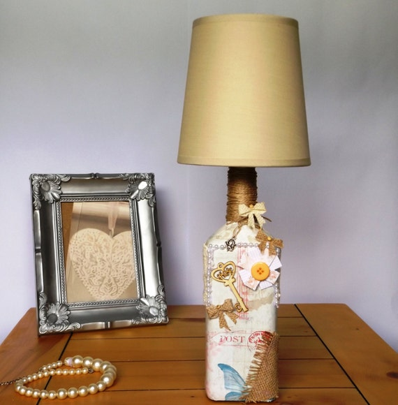 shabby chic vintage retro table bedside lamp by lampshadekings