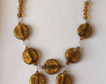 Golden Bronze Bib Necklace