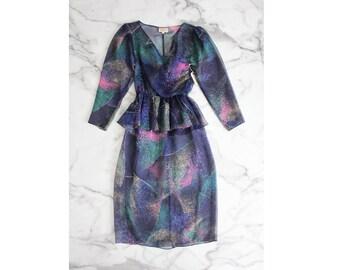 peplum dress / sheer dress / 1970's dress