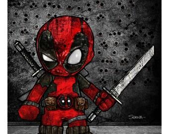 "Mini Deadpool - Deadpool Art Print - 8.5"" x 11"""