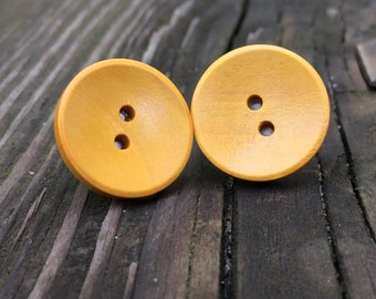 Yellow Painted Wood Button Earrings