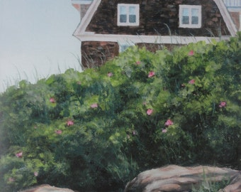 cottage painting, shabby chic decor, maine cottage, coastal cottage, bluff, cliff, maine painting, beach house,