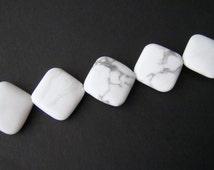 Howlite Beads, White Howlite Beads, Howlite White Beads, Diamond Square, Natural White Howlite, White Stone Beads, White Gemstone Beads
