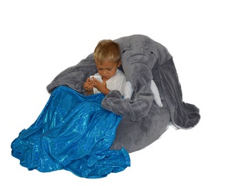 Elephant bean bag chair with blanket of water stored in his trunk