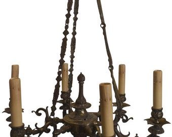 Six Light Chandelier Antique Cast Brass, Hand Casted Chain with Detailed Design & Fully Adorned with Racoco Style