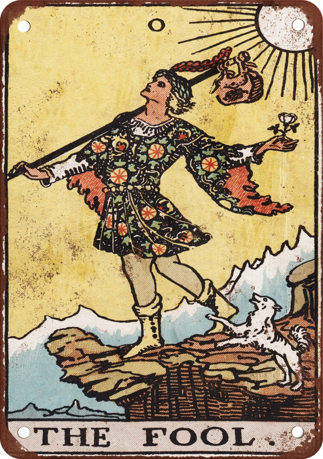 Major Arcana The Fool Vintage Look Reproduction Metal Sign