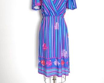 vintage 70s dress, floral print dress, summer dress, striped dress, floral stripe print, surplice dress, 70s 1970s, blue dress, XS, S