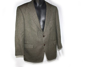 Vintage Brooks Brothers Mens Cotton Blazer Sport Coat Summer Jacket herringbone Tweed  lightweight blazer  size 42 Made in Italy