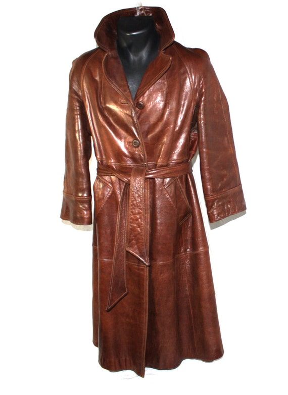 Vintage Women's Leather Trench Coat Long Brown Leather ...