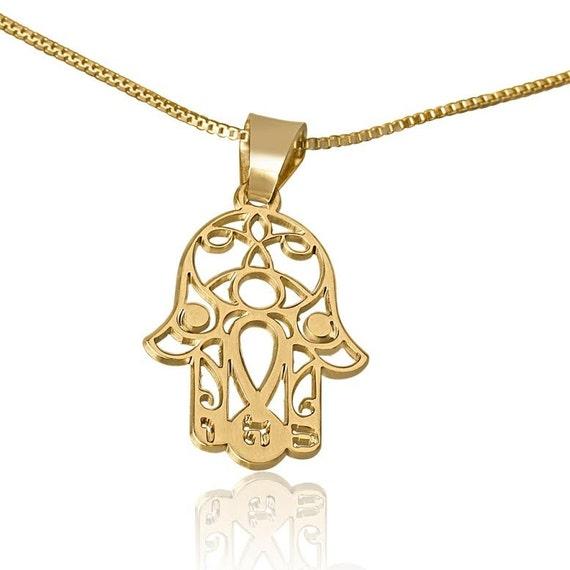 Gold Hamsa Hand Necklace Gold Hamsa From Israel religious Gift From Israel Handmade Hamsa Hand Pendant Gold Hamsa Necklace From Israel 14K