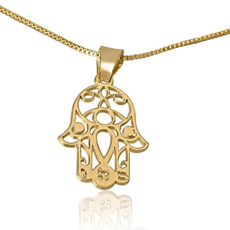 Hamsa Necklace Gold Vermeil From Israel Hamsa Necklace Hand of