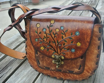 Gift for Her - Womens Purse - Tooled Leather Purse - Hand Tooled handbag - Hand painting