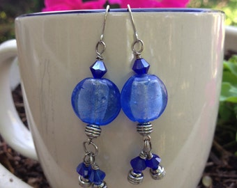 Colbalt Blue Dangle Earrings
