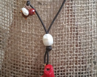 Natural Coral & Freshwater Pearl Leather Necklace