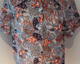 60s Paisley Short Sleeved Blouse