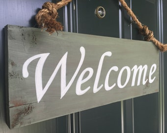 Sign - Welcome Front Door, Wood Sign,, Front Door Sign