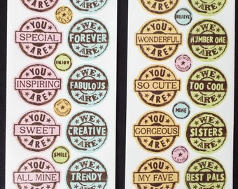 Miss Elizabeths Circle Stamps Sticker Sheet Double Sided Acid Free Lignin Free NEW