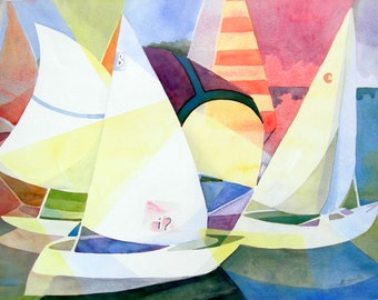 Sailboats in Regatta Print