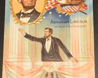 Lincoln Series Postcard President Abe Lincoln Speech Card