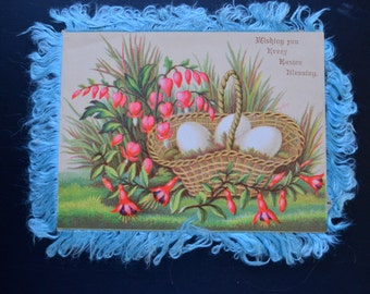 Easter Card, Silk Fringe Card, 1880s Easter Card, Antique Card, Easter Ephemera, Vintage Ephemera, Spring Card