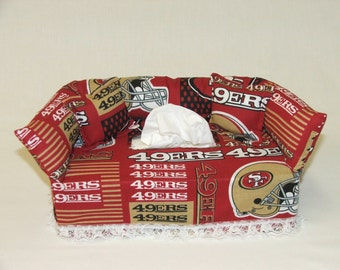 San Francisco 49ers NFL licensed fabric tissue box cover.