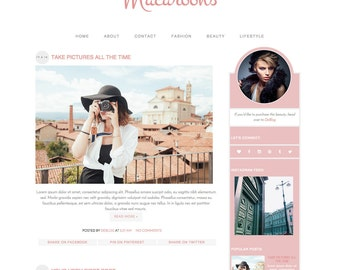"Blogger Template Premade Blog Design - ""Macaroons"" Blogger Theme Pastel Pink"
