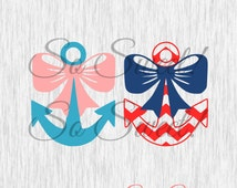Anchor With Bow SVG / DXF No Bulk Cut File for Silhouette Nautical Girls Cutting File Chevron and Regular Anchor With Bow