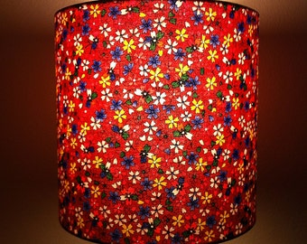 lampshade - red Japanese floral print