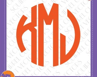 Circle Monogram Archly Letters SVG DXF EPS Cutting files.  Alphabet Letter Shapes