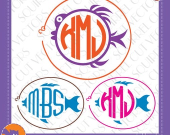 3 Fish Monogram Frames SVG DXF EPS Cutting files