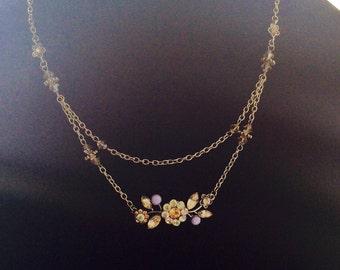 Vintage inspired flower choker necklace