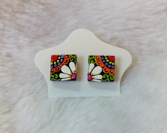 Thailand lanna bohemian style handmade paint colored square flower earrings