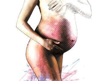 Glow - Illustration Art Print Pregnant Woman Poster Wall Decor Pink Watercolor Painting Portrait