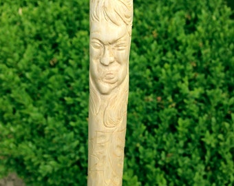 Mischievous Woodspirit, handcarved hiking staff - EMILY