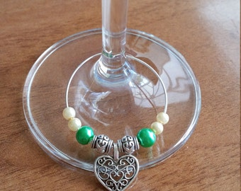 Pack of 2 : Emerald & Ivory Glass/Champagne Charms