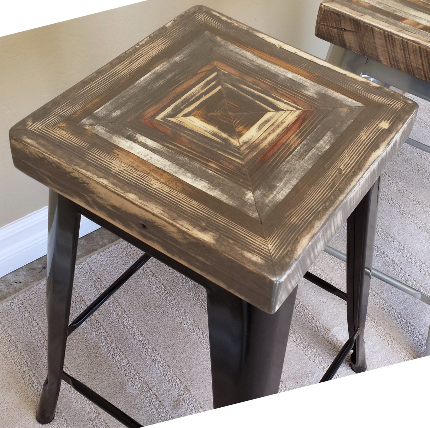 Reclaimed Wood Bar Stool With Tolix Style Steel Base. Full resolution  image, nominally Width 1500 Height 1493 pixels, image with #7E6B4D.