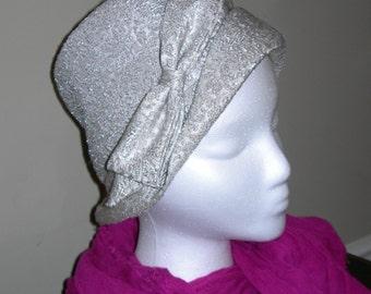 Silver Brocade Bucket Hat Vintage 1960's
