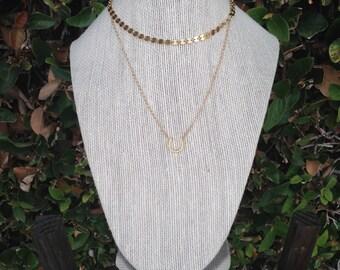Gold disc choker necklace