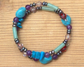 Teal, Green, and Purple Wire Wrap Bracelet