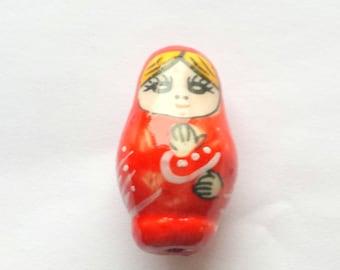 Matryoshka doll bead, Matryoshka doll, Russian doll, Russian doll bead, Red matryoshka doll