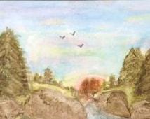 Painting Handmade Original Landscape Scenery Watercolor Painting, 10 x 14, 12 x 16