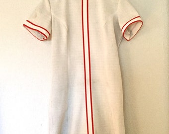 Vintage 1960's Red and White Mod Shift Dress