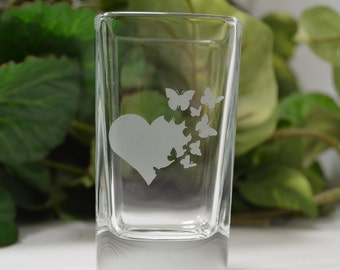 Shot Glass ~ Etched Shot Glass ~ Heart and Butterflies Etched Shot Glass