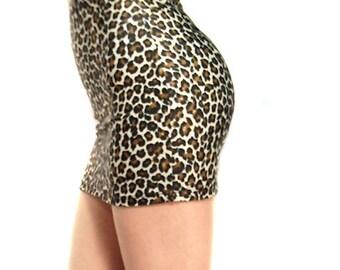 High waisted leopard print spandex mini skirt