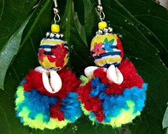 Thai Inspired/Ethnic/Bohemian/Gypsy/Bright/Colorful Yarn Pom Pom Beaded Earrings