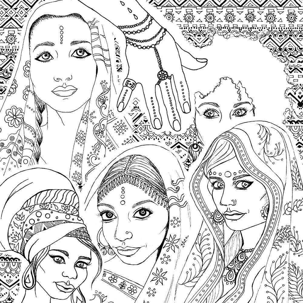 Coloring book for adults indian african fashion portraits for Free indian coloring pages