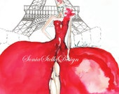 Paris Couture Fashion Illustration Wall Art Print Watercolor Signed limited edition only 10 left limited signed and numbered