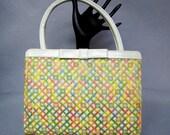 Pretty PALIZZIO Pastel Purse, Vintage 1960's Ladies Handbag. Gorgeous MOD Needlepoint or Embroidery Pocketbook