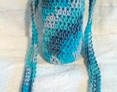 Silver Skies Crocheted Water Bottle Carrier - Drink Tote - Shoulder-Length Strap - Festival Water Carrier - Hiking Accessory - Ready to Ship