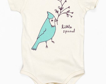 Baby Bodysuit : Little Sprout Baby Bodysuit - Bird Baby Shower Gift - Baby Boy Clothes Baby Boy Gift Unique Clothing
